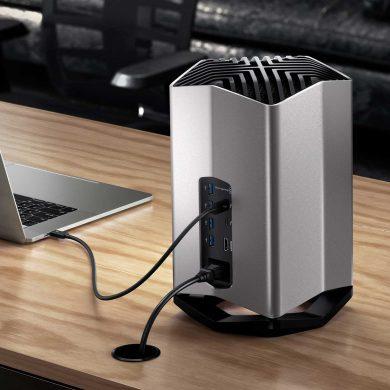 Blackmagic eGPU on desk with MacBook Pro