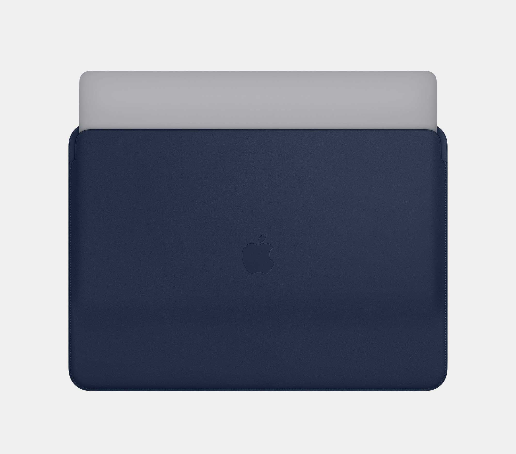 Midnight Blue Apple Leather Sleeve with new Space Grey MacBook Pro